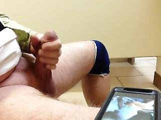 Jerking Off To Porn In The Hotel Washroom