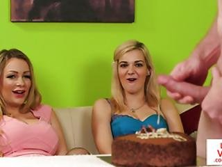 British Femdoms Watching Masturbating Guy