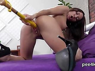 Gorgeous Chick Is Pissing And Finger Fucking Trimmed Pussy