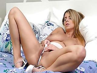 Raunchy Busty Blonde Katerina Hartlova Teasing Masturbating In Full Cut Patterned Sheer Panties