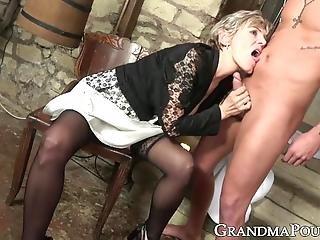Cum Eating Grandma Swallows Stud Cock Passionately