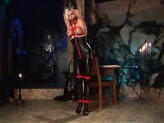 Blonde, Bondage, Leather, Tied