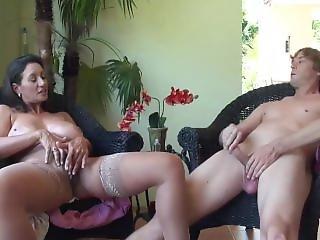Dirty Talking Mom & Son Masturbating Together