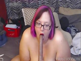 Sexy Redhead Bbw Sara Star Talks Dirty And Deepthroats During Webcam Show
