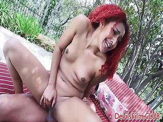 Black Redhead Slut Spreads Ass For Hard Cock