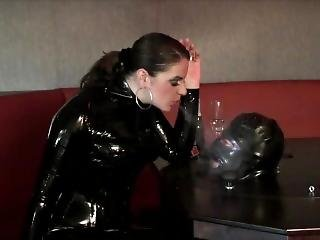 Latex Domina Objectifies And Degrades Pathetic Slave 02