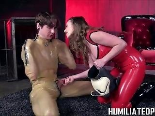 Turned Into A Dog By Femdom And Locked In Puppy Gimp Suit