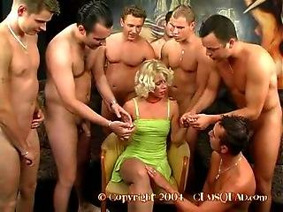 Mass Gangbang For Cum Loving Blonde