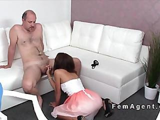 Sexy Female Agent Helps Guy Get Hard In Casting