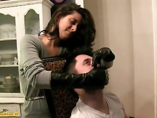 Handsmother With Long Leather Gloves - Leather Hands And Feet