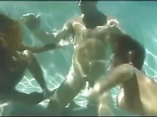 bonasse, pipe, éjaculation, sexe, sous l'eau