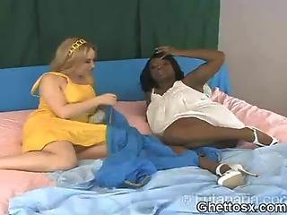 Afro Hoe Interracial Big Titty Lesbian Play