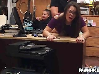 Nerdy College Brunette Gets Bent Over And Fucked From Behind