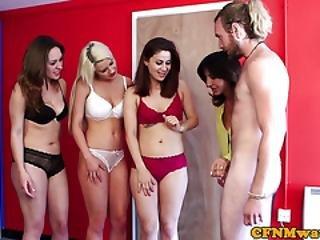 British Cfnm Babes Deepthroating Cock