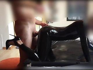 Skinny Latex Girl In Shiny Catsuit Doggystyle Tongue Play & Lipstick