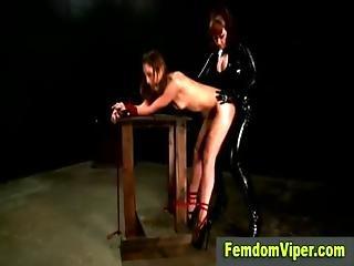 Lezdom Mistress Bitch Inflicts Strapon Fuck