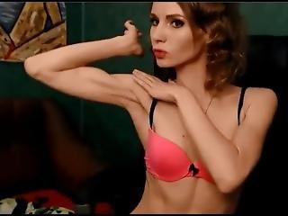 Slender Russian Cam Girl Flexes Her Biceps