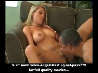 Innocent blonde undressing and doing blowjob and having pussy licked