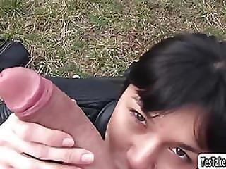 Sexy Russian Babe Mona Kim In An Outdoor Cock Sucking Action