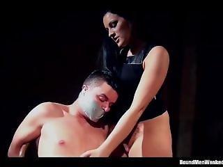 Hot Domina Ties Up, Tape Gags And Gives Slave Handjob
