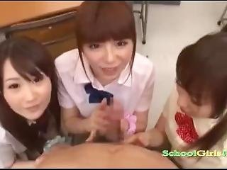 3 Schoolgirls Jerking And Sucking Guy Cock Cum To Mouth Splitting Cum In Th