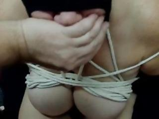 Lovely Linda Bound Sucking Saline Filled Cock And Balls