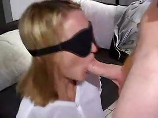 He Blindfolds His Girl Then Tricks Her Into Blowing His Friends