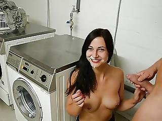 Slutty Neighbor Laundry Room Fuck And Facial