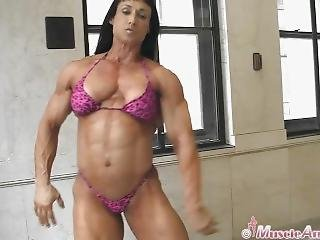 Muscle Bombshell Looking Incredible In Pink Bikinis