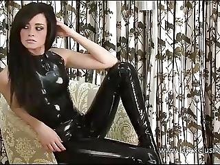 Perverted Latex Playgirl Chloes Constricted Rubber Outfit And Nylon Paramours
