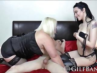 A Big Tit Mature Slut And The Sexy Brunette Babe Who Are With The Handsome Horny Dude On The Bed Soon Stud Fucks Grannys Wet Twat While Shes Licking Young