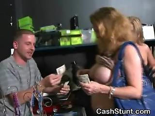 Amateur Girls Flashing Tits In Pawn Shop Stunt For Cash