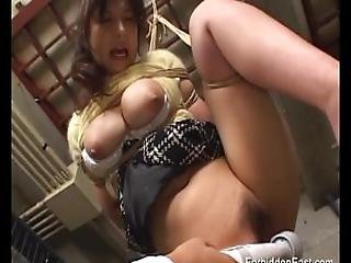 Sexy Oriental In Black Lingerie Brought To Orgasm With Hitachi Magic Wand