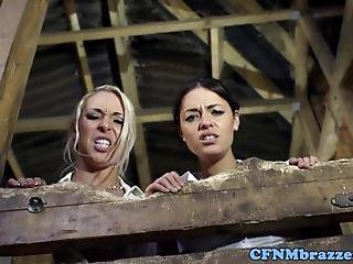 Seductive Cfnm Babes Gagging On Hard Cock In The Barn