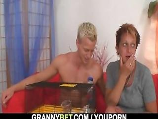Granny Neighbor Jumps At His Cock