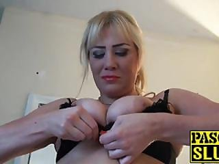 Big Tits Blonde Milf In Stocking Masturbates While Sucking