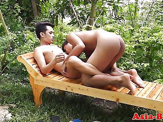 Young Asian Twink Bareback Banged Outdoors