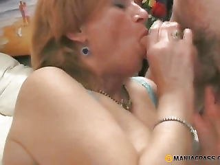 Hungry Aunt Sucks Cock