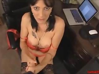 Hot Sexy Milf Getting Cum On Her Stockings