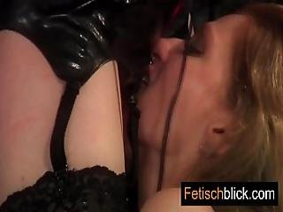 Latex Bitch Taken Hard By 2 Till Pussy Orgasms From Licking Dildo And Bondage