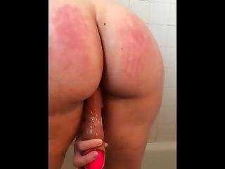 "Wife Takes 10"" Dildo In Shower"