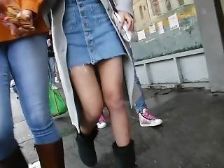Bootycruise: Asian Babes Leg Art 25: Blue Denim Skirt