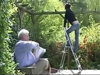 Old Man Grandpa Fucks Beautiful Teen In The Garden