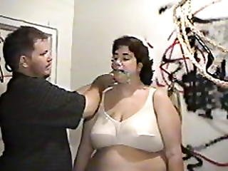 Mature boob bondage