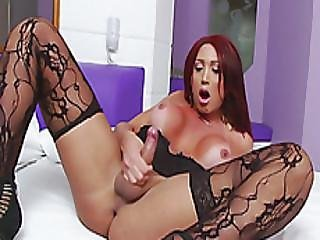 Big Boobs Tgirl Masturbates Til She Cums On The Bedsheet