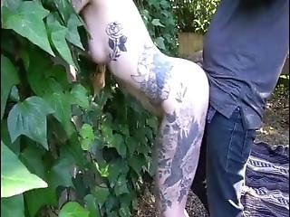 Sexy Tattooed Babe Gets Fucked And Creampied In Nature