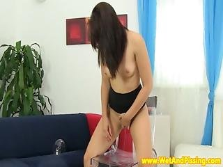 Ass, Babe, Dildo, Fetish, Heels, Masturbation, Piss, Pissing, Squirt, Table Fuck, Weird