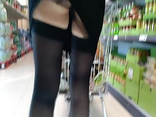 Upskirt Stocking Supermarket