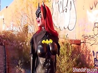 Milf Shanda Fay Sucks Cock Outside As Batgirl