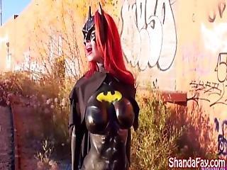 Milf Shanda Fay Sucks Cock Outside As Batgirl